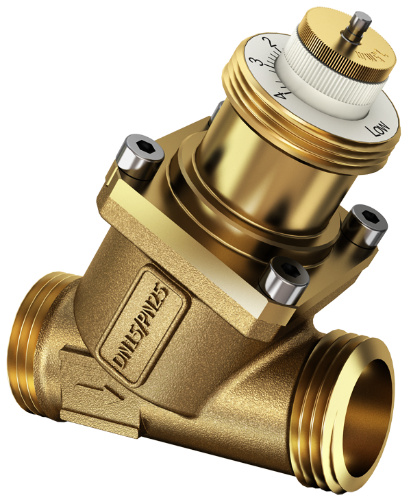 2-way regulating valve for dynamic hydronic balancing, PN 25, Valveco compact